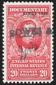 "Sale Number 1222, Lot Number 2068, ""Red"" Dated Dolcumentary Issues (R305 thru R723)$20.00 Carmine, ""Series 1940"" Ovpt. (R305A), $20.00 Carmine, ""Series 1940"" Ovpt. (R305A)"