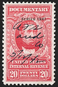 "Sale Number 1222, Lot Number 2069, ""Red"" Dated Dolcumentary Issues (R305 thru R723)$20.00 Carmine, ""Series 1941"" Ovpt. (R329), $20.00 Carmine, ""Series 1941"" Ovpt. (R329)"
