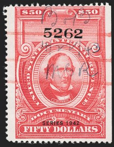 "Sale Number 1222, Lot Number 2071, ""Red"" Dated Dolcumentary Issues (R305 thru R723)$50.00 Carmine, ""Series 1942"" Ovpt. (R356), $50.00 Carmine, ""Series 1942"" Ovpt. (R356)"