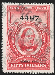 "Sale Number 1222, Lot Number 2072, ""Red"" Dated Dolcumentary Issues (R305 thru R723)$50.00 Carmine, ""Series 1942"" Ovpt. (R356), $50.00 Carmine, ""Series 1942"" Ovpt. (R356)"