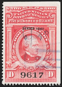 "Sale Number 1222, Lot Number 2073, ""Red"" Dated Dolcumentary Issues (R305 thru R723)$500.00 Carmine, ""Series 1943"" Ovpt. (R384), $500.00 Carmine, ""Series 1943"" Ovpt. (R384)"