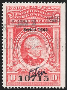 "Sale Number 1222, Lot Number 2074, ""Red"" Dated Dolcumentary Issues (R305 thru R723)$500.00 Carmine, ""Series 1944"" Ovpt. (R409), $500.00 Carmine, ""Series 1944"" Ovpt. (R409)"