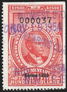 "Sale Number 1222, Lot Number 2075, ""Red"" Dated Dolcumentary Issues (R305 thru R723)$2,500.00 Carmine, ""Series 1953"" Ovpt. (R651), $2,500.00 Carmine, ""Series 1953"" Ovpt. (R651)"