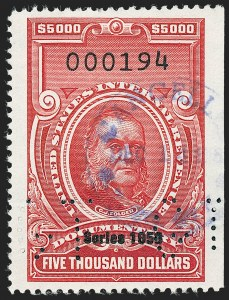 "Sale Number 1222, Lot Number 2076, ""Red"" Dated Dolcumentary Issues (R305 thru R723)$5,000.00 Carmine, ""Series 1953"" Ovpt. (R652), $5,000.00 Carmine, ""Series 1953"" Ovpt. (R652)"