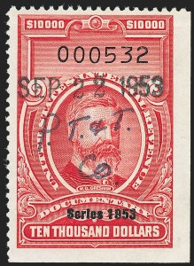 "Sale Number 1222, Lot Number 2077, ""Red"" Dated Dolcumentary Issues (R305 thru R723)$10,000.00 Carmine, ""Series 1953"" Ovpt. (R653), $10,000.00 Carmine, ""Series 1953"" Ovpt. (R653)"