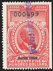 "Sale Number 1222, Lot Number 2078, ""Red"" Dated Dolcumentary Issues (R305 thru R723)$2,500.00 Carmine, ""Series 1954"" Ovpt. (R685), $2,500.00 Carmine, ""Series 1954"" Ovpt. (R685)"