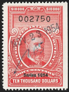 "Sale Number 1222, Lot Number 2080, ""Red"" Dated Dolcumentary Issues (R305 thru R723)$10,000.00 Carmine, ""Series 1954"" Ovpt. (R687), $10,000.00 Carmine, ""Series 1954"" Ovpt. (R687)"