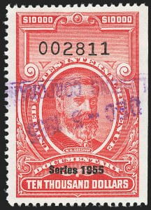 "Sale Number 1222, Lot Number 2081, ""Red"" Dated Dolcumentary Issues (R305 thru R723)$10,000.00 Carmine, ""Series 1955"" Ovpt. (R696), $10,000.00 Carmine, ""Series 1955"" Ovpt. (R696)"