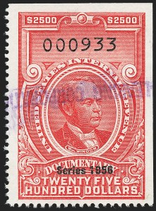 "Sale Number 1222, Lot Number 2082, ""Red"" Dated Dolcumentary Issues (R305 thru R723)$2,500.00 Carmine, ""Series 1956"" Ovpt. (R703), $2,500.00 Carmine, ""Series 1956"" Ovpt. (R703)"