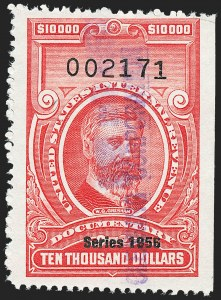 "Sale Number 1222, Lot Number 2083, ""Red"" Dated Dolcumentary Issues (R305 thru R723)$10,000.00 Carmine, ""Series 1956"" Ovpt. (R705), $10,000.00 Carmine, ""Series 1956"" Ovpt. (R705)"