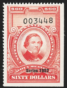"Sale Number 1222, Lot Number 2084, ""Red"" Dated Dolcumentary Issues (R305 thru R723)$60.00 Carmine, ""Series 1957"" Ovpt. (R708), $60.00 Carmine, ""Series 1957"" Ovpt. (R708)"