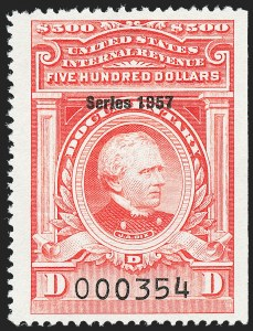 "Sale Number 1222, Lot Number 2085, ""Red"" Dated Dolcumentary Issues (R305 thru R723)$500.00 Carmine, ""Series 1957"" Ovpt. (R710), $500.00 Carmine, ""Series 1957"" Ovpt. (R710)"