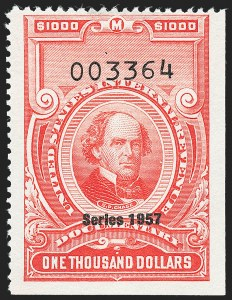 "Sale Number 1222, Lot Number 2086, ""Red"" Dated Dolcumentary Issues (R305 thru R723)$1,000.00 Carmine, ""Series 1957"" Ovpt. (R711), $1,000.00 Carmine, ""Series 1957"" Ovpt. (R711)"