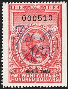 "Sale Number 1222, Lot Number 2087, ""Red"" Dated Dolcumentary Issues (R305 thru R723)$2,500.00 Carmine, ""Series 1958"" Ovpt. (R721), $2,500.00 Carmine, ""Series 1958"" Ovpt. (R721)"