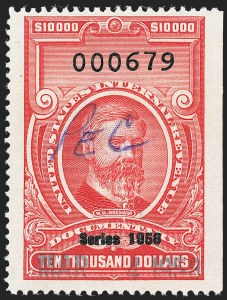 "Sale Number 1222, Lot Number 2088, ""Red"" Dated Dolcumentary Issues (R305 thru R723)$10,000.00 Carmine, ""Series 1958"" Ovpt. (R723), $10,000.00 Carmine, ""Series 1958"" Ovpt. (R723)"