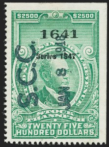 "Sale Number 1222, Lot Number 2093, Stock Transfer (RD)$2,500.00 Bright Green, ""Series 1947"" Ovpt., Stock Transfer (RD258), $2,500.00 Bright Green, ""Series 1947"" Ovpt., Stock Transfer (RD258)"