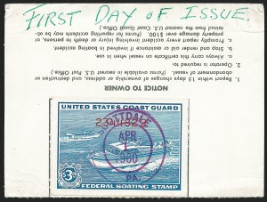 Sale Number 1222, Lot Number 2279, Boating, Distilled Spirits, Firearms (RVB, RX, RY)$3.00 Blue, Boating Stamp (RVB2), $3.00 Blue, Boating Stamp (RVB2)