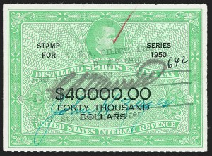 Sale Number 1222, Lot Number 2280, Boating, Distilled Spirits, Firearms (RVB, RX, RY)$40,000.00 Yellow Green & Black, 1950 Distilled Spirits Excise Tax (RX24), $40,000.00 Yellow Green & Black, 1950 Distilled Spirits Excise Tax (RX24)