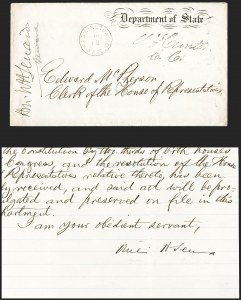 Sale Number 1223, Lot Number 8010, Free Franks and AutographsWilliam Seward, William Seward