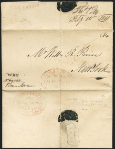 "Sale Number 1223, Lot Number 8023, Transatlantic Stampless, Ship Mail(Birmingham, England, to New York) ""Packet Ship [above oval] James Munroe/Liverpool/ Watkinson/Sailed Mar. 1,/1819"", (Birmingham, England, to New York) ""Packet Ship [above oval] James Munroe/Liverpool/ Watkinson/Sailed Mar. 1,/1819"""