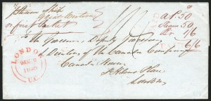 Sale Number 1223, Lot Number 8025, Transatlantic Stampless, Ship Mail(Goderich, Canada, to London, England, 1840) Freight Money Letter, (Goderich, Canada, to London, England, 1840) Freight Money Letter