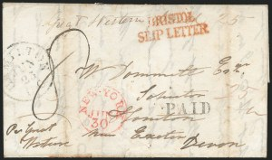 Sale Number 1223, Lot Number 8027, Transatlantic Stampless, Ship Mail(Hamilton, Canada, to Hampton, England, 1840) Freight Money Letter, (Hamilton, Canada, to Hampton, England, 1840) Freight Money Letter