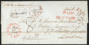 "Sale Number 1223, Lot Number 8028, Transatlantic Stampless, Ship Mail(Sherbrooke, Canada, to London, 1840) Freight Money Letter, ""SHIP PAID"" Straightline Handstamp, (Sherbrooke, Canada, to London, 1840) Freight Money Letter, ""SHIP PAID"" Straightline Handstamp"