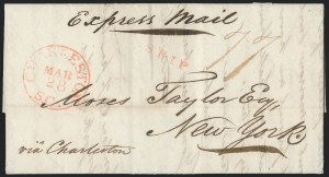 Sale Number 1223, Lot Number 8029, Transatlantic Stampless, Ship Mail(Havana, Cuba, to New York via Charleston S.C., 1837) Express Mail Rate, (Havana, Cuba, to New York via Charleston S.C., 1837) Express Mail Rate