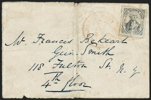 Sale Number 1223, Lot Number 8308, City Despatch PostU.S. City Despatch Post, New York N.Y., 3c Black on Grayish (6LB1), U.S. City Despatch Post, New York N.Y., 3c Black on Grayish (6LB1)