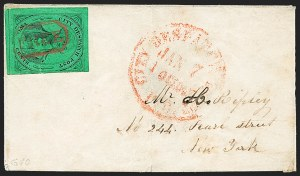 Sale Number 1223, Lot Number 8329, City Despatch Post(Mead's) Post Office City Despatch, New York N.Y., 2c Black on Green Glazed (40L2), (Mead's) Post Office City Despatch, New York N.Y., 2c Black on Green Glazed (40L2)