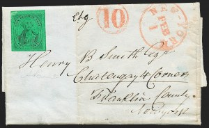 Sale Number 1223, Lot Number 8330, City Despatch Post(Mead's) Post Office City Despatch, New York N.Y., 2c Black on Green Glazed (40L2), (Mead's) Post Office City Despatch, New York N.Y., 2c Black on Green Glazed (40L2)