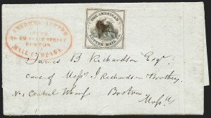 Sale Number 1223, Lot Number 8354, 1844-45 Independent MailsAmerican Letter Mail Co., (5c) Black on Gray (5L2), American Letter Mail Co., (5c) Black on Gray (5L2)