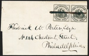 Sale Number 1223, Lot Number 8355, 1844-45 Independent MailsAmerican Letter Mail Co., (5c) Black on Gray (5L2), American Letter Mail Co., (5c) Black on Gray (5L2)