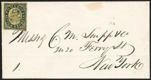 Sale Number 1223, Lot Number 8362, 1844-45 Independent MailsPomeroy's Letter Express, 5c Black on Yellow (117L1), Pomeroy's Letter Express, 5c Black on Yellow (117L1)