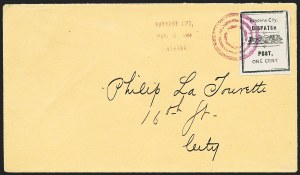 Sale Number 1223, Lot Number 8363, Local PostsBayonne City Dispatch, Bayonne City N.J., 1c Black (9L1), Bayonne City Dispatch, Bayonne City N.J., 1c Black (9L1)