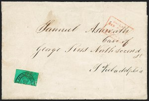Sale Number 1223, Lot Number 8375, Local PostsBoyd's City Express, New York N.Y., 2c Black on Bluish Green, Bisect (20L3 var), Boyd's City Express, New York N.Y., 2c Black on Bluish Green, Bisect (20L3 var)