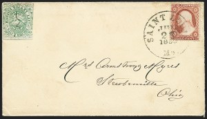 Sale Number 1223, Lot Number 8399, Local PostsSquier & Co. City Letter Dispatch, St. Louis Mo., 1c Green, Imperforate (132L1), Squier & Co. City Letter Dispatch, St. Louis Mo., 1c Green, Imperforate (132L1)