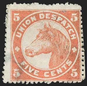 Sale Number 1223, Lot Number 8407, Local PostsUnion Despatch, Chicago Ill., 5c Brownish Red, Rough Perf 12-1/2--15 (170L1), Union Despatch, Chicago Ill., 5c Brownish Red, Rough Perf 12-1/2--15 (170L1)
