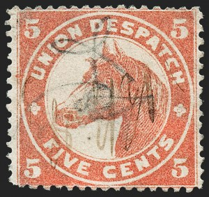 Sale Number 1223, Lot Number 8408, Local PostsUnion Despatch, Chicago Ill., 5c Brownish Red, Rough Perf 12-1/2--15 (170L1), Union Despatch, Chicago Ill., 5c Brownish Red, Rough Perf 12-1/2--15 (170L1)