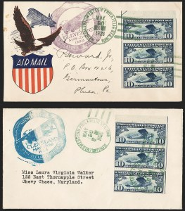 Sale Number 1223, Lot Number 8568, 20th Century and Air Post Covers10c Lindbergh, Booklet Pane (C10a), 10c Lindbergh, Booklet Pane (C10a)