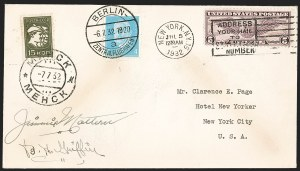 Sale Number 1223, Lot Number 8578, 20th Century and Air Post Covers1932, July 5, Mattern and Griffin Round the World Flight (AAMC 1167), 1932, July 5, Mattern and Griffin Round the World Flight (AAMC 1167)