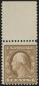Sale Number 1224, Lot Number 194, Washington-Franklin and Panama Pacific Issues4c Orange Brown, Bluish (360). Mint N.H, 4c Orange Brown, Bluish (360). Mint N.H