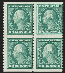 Sale Number 1224, Lot Number 201, 1914-1922 and Later Issues1c Green, Vertical Pair, Imperforate Horizontally (424c), 1c Green, Vertical Pair, Imperforate Horizontally (424c)
