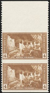 Sale Number 1224, Lot Number 219, 1914-1922 and Later Issues4c Mesa Verde, Vertical Pair, Imperforate Horizontally (743a), 4c Mesa Verde, Vertical Pair, Imperforate Horizontally (743a)