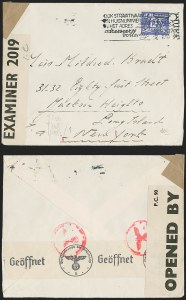 Sale Number 1224, Lot Number 221, 1914-1922 and Later IssuesOctober 28, 1941 -- Amsterdam to New York, October 28, 1941 -- Amsterdam to New York