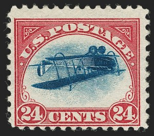 "Sale Number 1224, Lot Number 223, 1918 24c Inverted ""Jenny"" -- Position 11 (C3a)24c Carmine Rose & Blue, Center Inverted (C3a), 24c Carmine Rose & Blue, Center Inverted (C3a)"