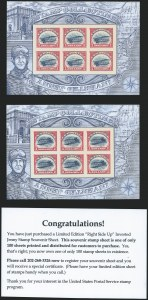 Sale Number 1224, Lot Number 224, Air Post, including Upright Jenny Error$2.00 Red & Blue, Non-Inverted Jenny Error Sheet (4806d), $2.00 Red & Blue, Non-Inverted Jenny Error Sheet (4806d)