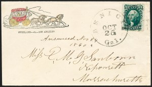 Sale Number 1224, Lot Number 266, California and Western Postal History including Pony Express10c Green, Ty. V (35), 10c Green, Ty. V (35)
