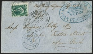 Sale Number 1224, Lot Number 271, California and Western Postal History including Pony Express10c Green, Ty. V (35), 10c Green, Ty. V (35)