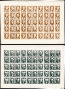 Sale Number 1224, Lot Number 29, 1847 Issue5c Red Brown, 10c Black, Reproduction, Plate Proofs on Card (3P4-4P4), 5c Red Brown, 10c Black, Reproduction, Plate Proofs on Card (3P4-4P4)